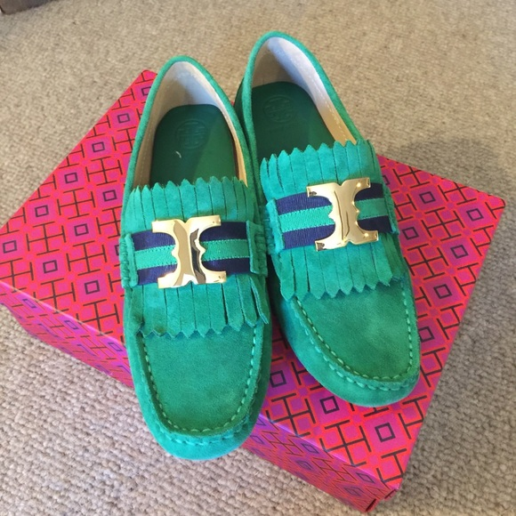 969a3f08ad0f1 Tory Burch green suede driving shoes